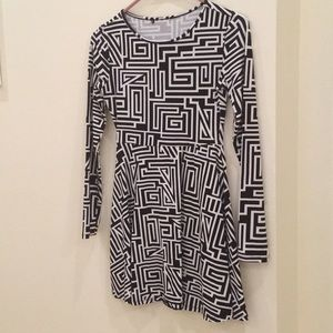 Forever 21 Black & White Mini Dress, Size XS